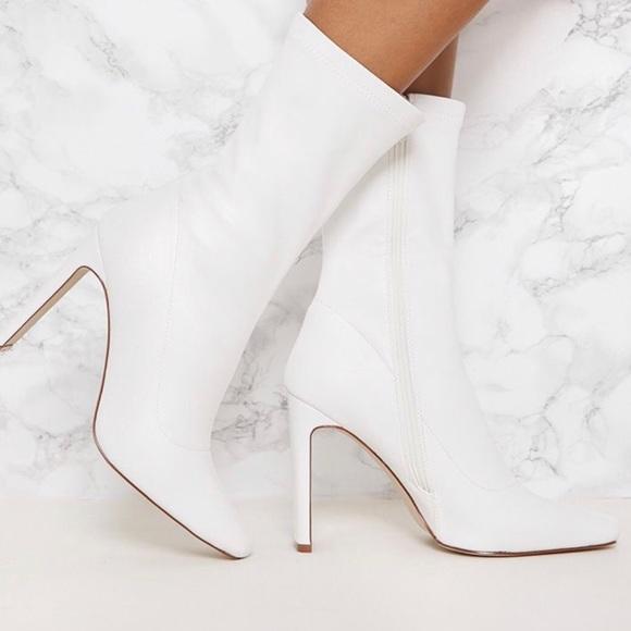 White Faux Leather Bootie   Poshmark